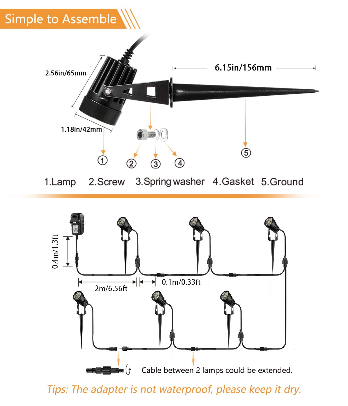 Extended Wire Lead Connectable Cord For Spike Lights Led Spotlights Outdoor Lighting Electric Spot Lights 4