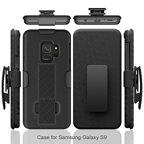 Samsung Galaxy S9 Case (5.8-inch) Galaxy S9 Tough Rugged Holster Armor Slim Cover Protective Shell Defender Swivel Lock Belt Clip [Built-in Kickstand] by Zase (Black Holster Combo Case)