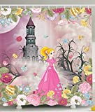Alice in Wonderland Decor Shower Curtain by Ambesonne, Baby Shower Decorations for Kids Alice in Fairy Castle, Polyester Fabric Bathroom Shower Curtain Set with Hooks