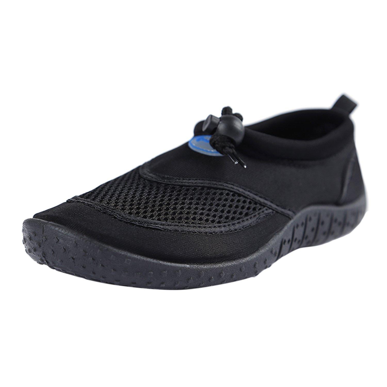 Rsuma Women's and Men's Beach Slip-on Color block Water Skiing Shoes, Black EURO43/US12/UK10