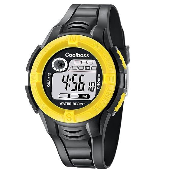 Loweryeah - Reloj digital LED de cuarzo con correa para cronógrafo, color amarillo: Amazon.es: Relojes