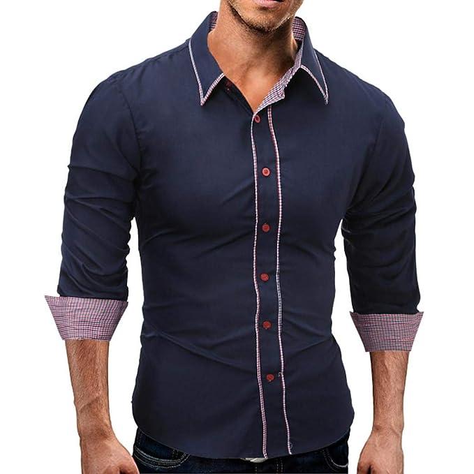 Camiseta Hombres,ZARLLE Camisa Casual Slim Fit Manga Larga Moda Negocio Elegante Camisetas Interior De