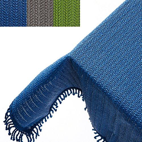 casa pura® Tischdecke Wonderland für Garten und Balkon   Weichschaum mit Fransen   rechteckig 130 cm x 160 cm   pflegeleicht und wetterfest   in 3 Farben (uni marineblau)
