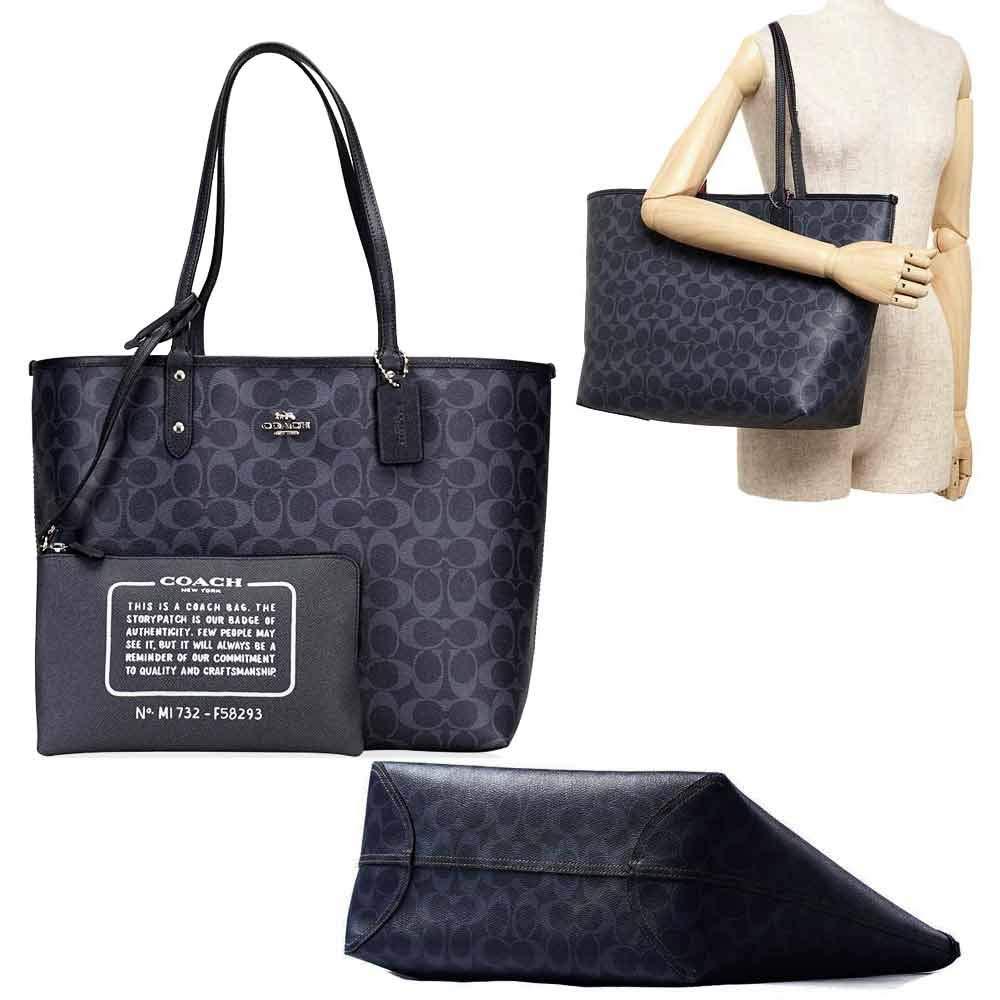 99c649ab5c Amazon.com: SALE ! New Authentic COACH Monogram Denim Blue Navy Large  Shopper LRG Tote: Shoes