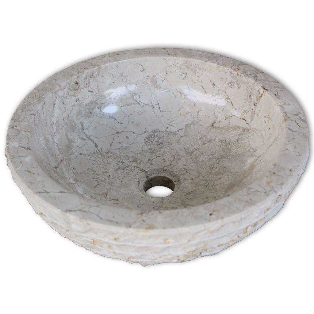 vidaXL Lavabo de m/ármol Crema 40 cm