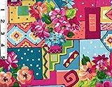 "100% Cotton, 44"" Wide. Multicolored cartoon-like floral and scenery design allover"