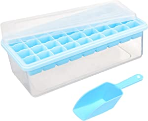 Ice Cube Tray Set: 1 Silicone Tray with Lid + Bin for Storage + Recipes E-Book - BPA-Free   By Lebice (Silicone)