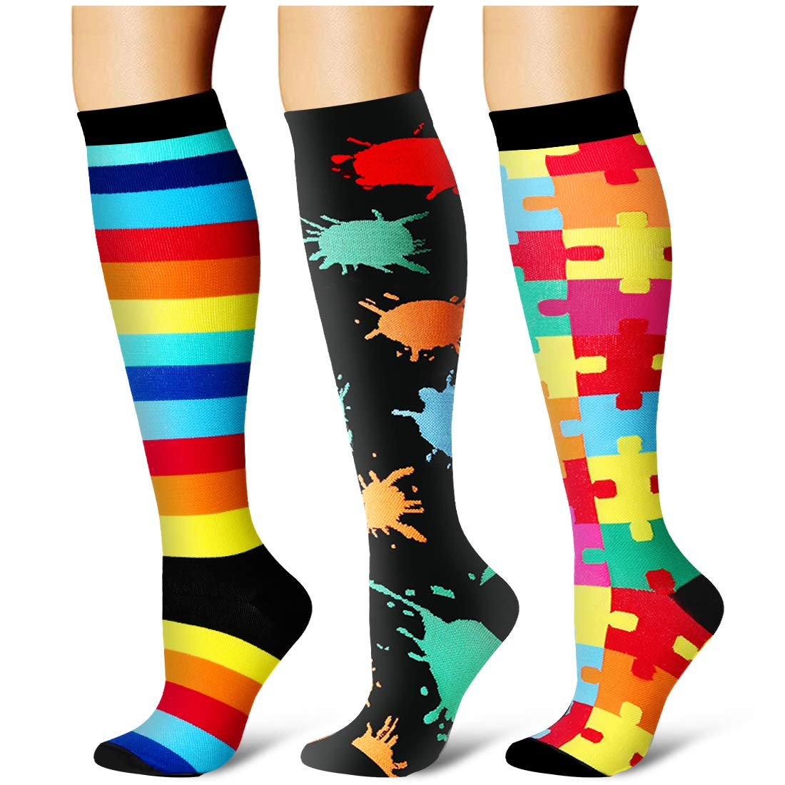 Compression Socks,(3 Pairs) Compression Sock for Women & Men - Best for Running, Athletic Sports, Crossfit, Flight Travel(Multti-colors8-S/M) by Laite Hebe