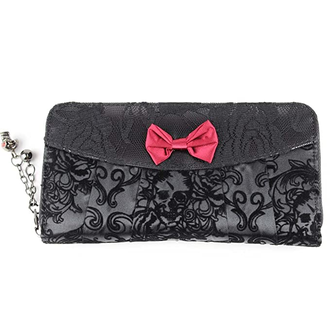 Banned – Mujer Gótico XL CARTERA Velvet Flower – Monedero con lazo Artificial