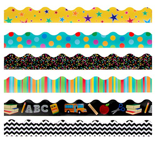 Bulletin Borders - 6-Pack Bulletin Board Borders, Geometric Pattern and Back to School Theme Decorative Trimmers, Border Trim for Classroom, School, 2.25 x 36 inches