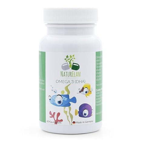 Omega 3 niños y vitaminas para niños, NaturElan, 60 cápsulas pequeñas para masticar con