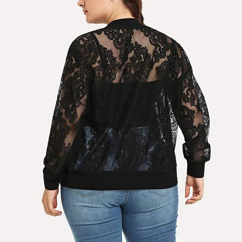 TIFENNY Womens Solid Plus Size Lace Loose Shawl Cardigan Top Beach Cover Up Long Sleeve Blouse Jacket