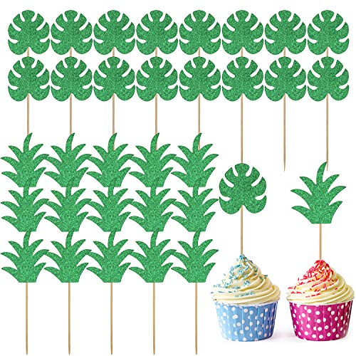 48 Pieces Glittery Cupcake Topper with Pineapple and Palm Leaf Design Cake Topper Decoration for Hawaii Birthday Wedding Beach Party (Style 1)