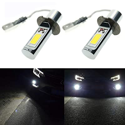Calais Extremely Bright H3 LED Fog Light Bulbs White 2000 Lumens COB Chips Car Fog Lights Replacements(pack of 2): Automotive