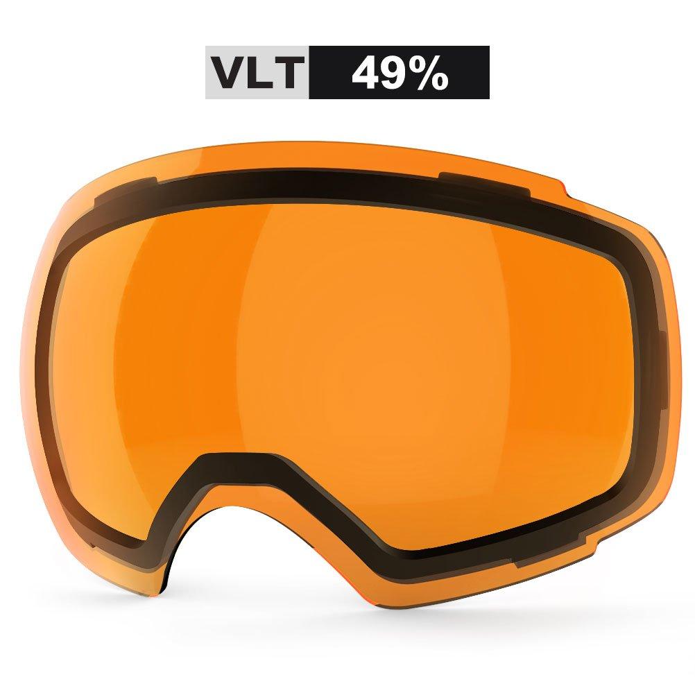 ZIONOR Lagopus X4 Ski Snowboard Snow Goggles Replacement Lenses (VLT 49% Clear Dark Orange Lens) by Zionor