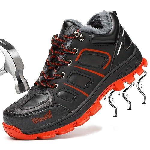 SUADEEX Mujer Hombre Invierno Zapatillas de Seguridad Botas con Puntera de Acero Impermeables Zapatos de Trabajo Entrenador Unisex Zapatillas de Senderismo: ...