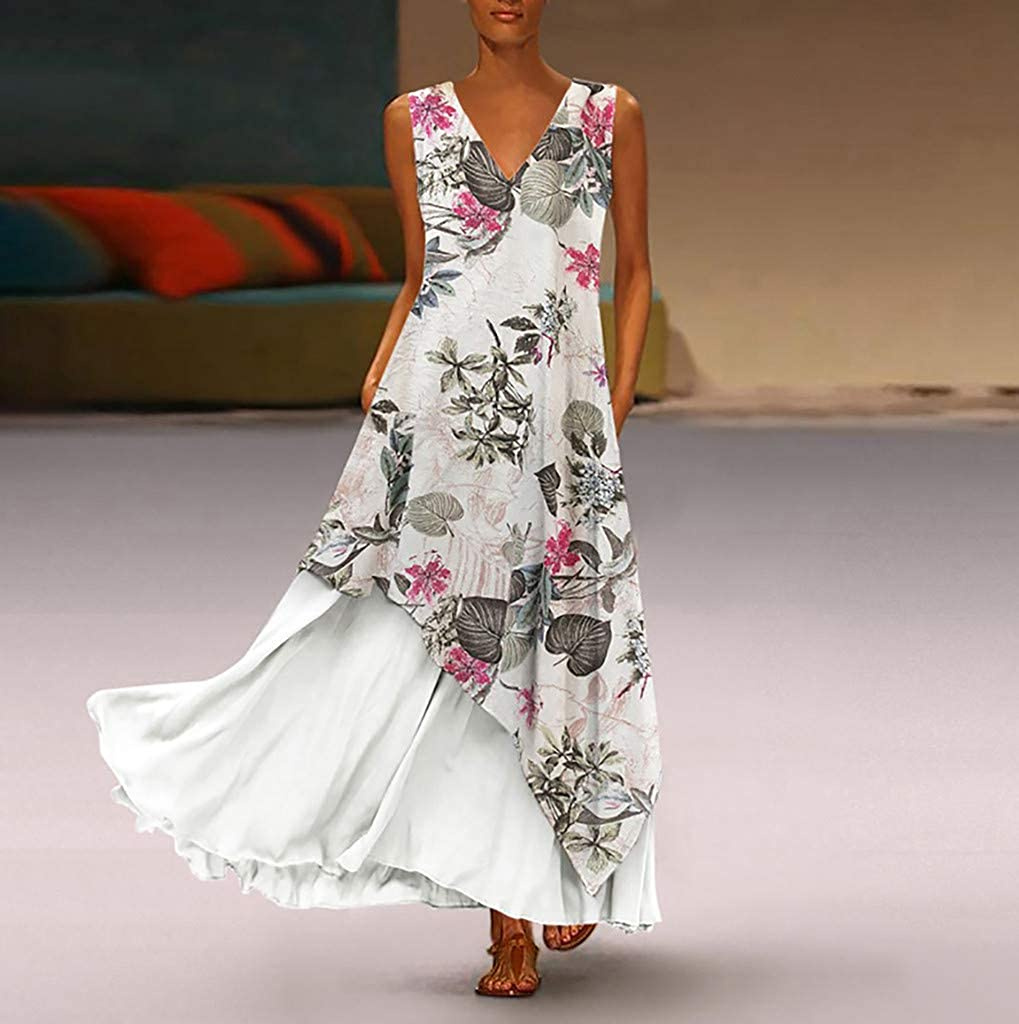 FEDULK Plus Size Womens Maxi Dress Vintage Ethnic Style Floral Print V Neck Sleeveless Casual Dress