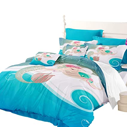 476da3145d9a71 Image Unavailable. Image not available for. Color: Oliven Cartoon Mermaid  Bedding Set Full Size Girls Duvet Cover Full Size Pink 3 Piece Home