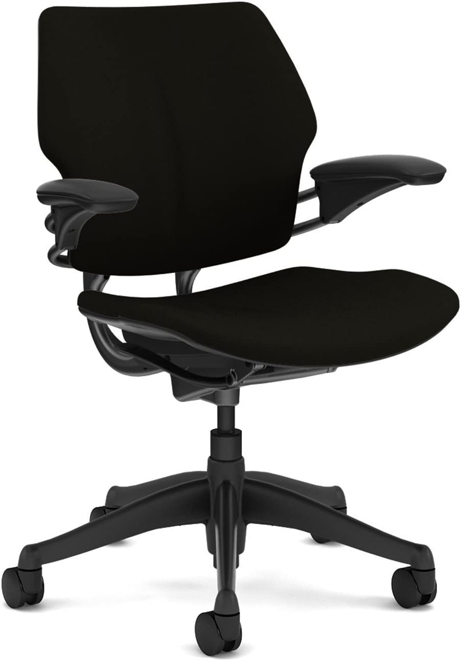 Freedom Chair by Humanscale: Standard Duron Arms - Foam Seat - Standard Carpet Casters - Graphite Frame/Black Wave Seat