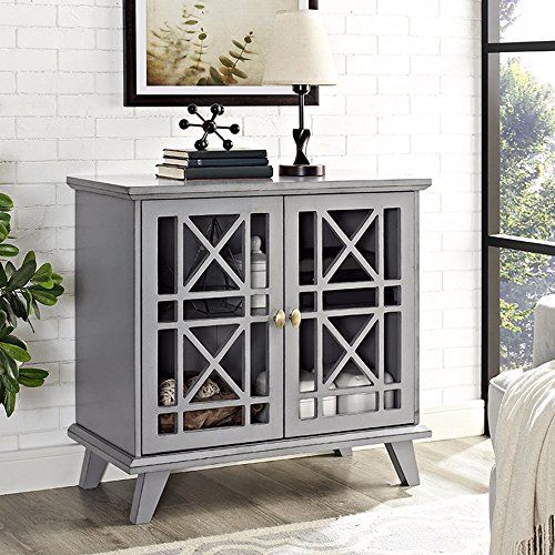 Grey 2-Door, 4-Shelf Entryway Console Made From Wood and Distressed Finish Shabby Chic Style Included Cross Scented Candle Tart