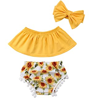 15932f98f71a Baby Girls Off Shoulder Top T Shirt Sunflower Floral Print Shorts Headband  Outfits Set