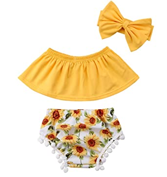 ccb4c91b7 Specialcal Baby Girls Off Shoulder Top T Shirt Sunflower Floral Print  Shorts Headband Outfits Set (