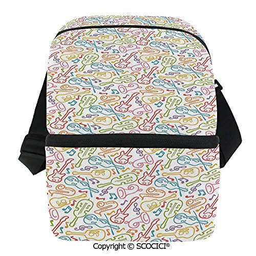 SCOCICI Cooler Bag Doodle Funky Guitar Violin Jazz Saxophone Acoustic Show Concert Symphony Concept Insulated Lunch Bag for Men Women for Kayak,Beach,Travel,Work,Picnic,Grocery ()