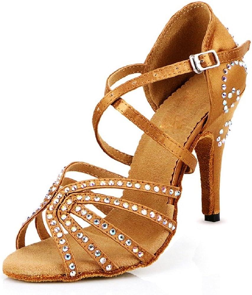 DLisiting Womens Latin Dance Shoes Ballroom Satin Rhinestone Performance Shoes