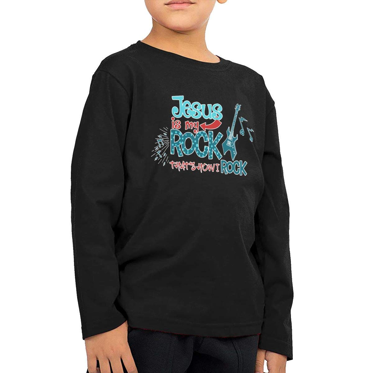 Jesus is My Rock and Thats How I Roll Friday Night Lights Girl Childrens T-Shirt Black
