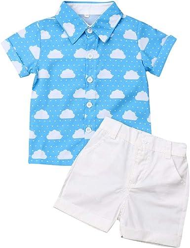 Ropa para Niño Conjuntos Verano 2 Piezas Camisa Nube + Pantalón Blanco Corto para Chico Disponible de 1-6 Años Casual, Verano, Vacaciones.: Amazon.es: Ropa y accesorios