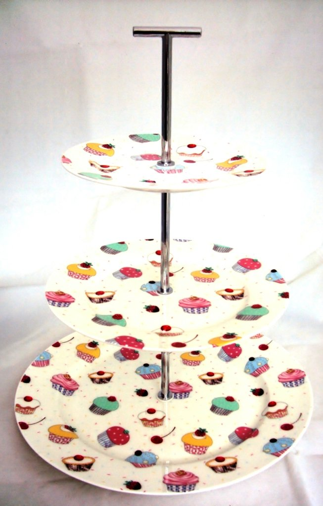 Fairy Cupcakes Cake Stand 3 Tier Fine Bone China Cupcakes Cake Stand Hand Decorated in the UK Rainbow Decors Ltd