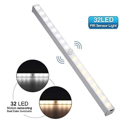 Sensor de movimiento luz nocturna, elfeland 32 LED Dual Color conmutable (Pure £ ¦