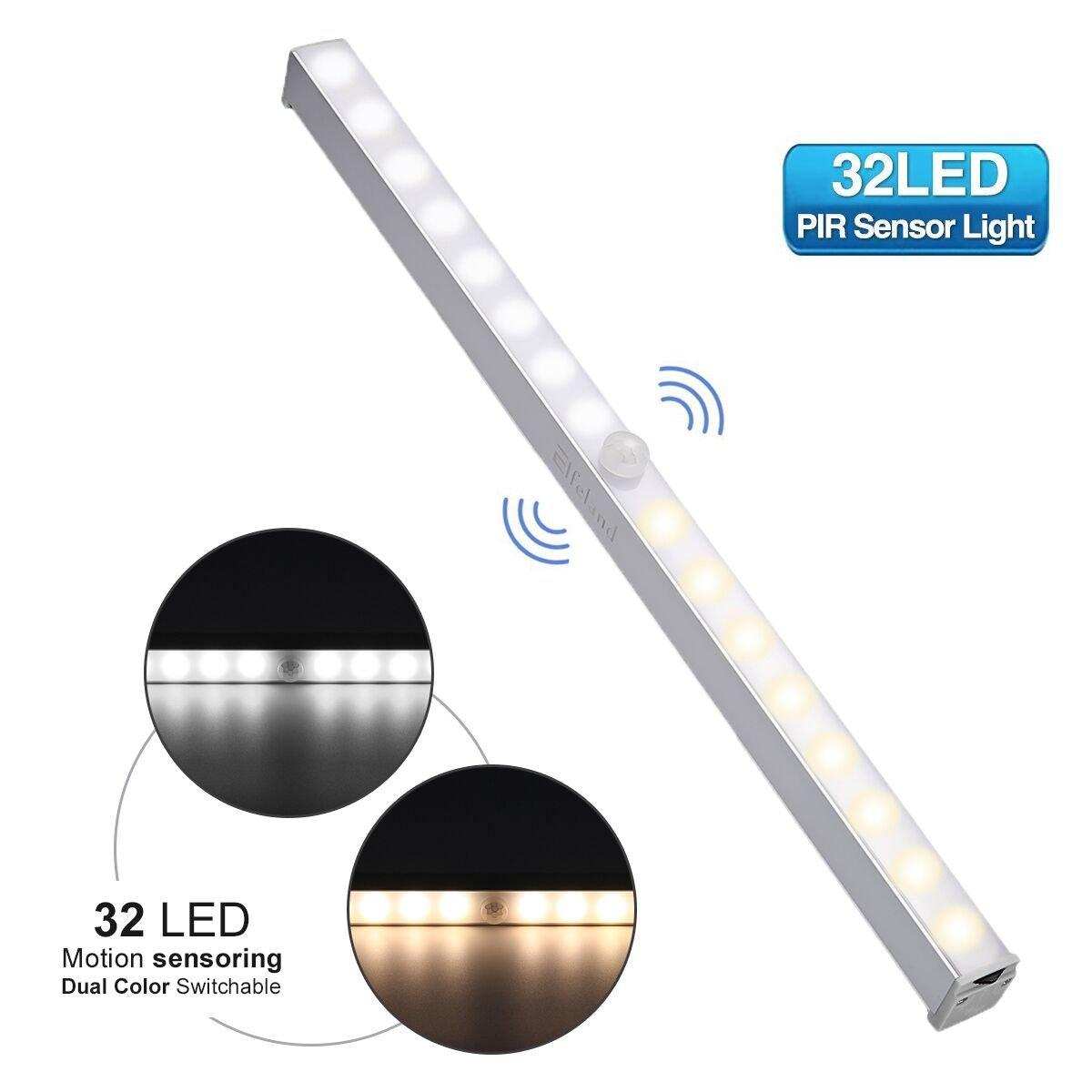 LED Under Cabinet Lighting Elfeland 32 LED Motion Sensor Closet light Stick-on Anywhere Night Light Magnetic/Screws Wireless Battery Powered Cabinet lights for Kitchen Closet Cupboard (3000 K/6000 K)