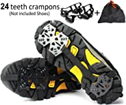 Puoyis Ice Snow Cleats Crampons for Shoes Boots, 24 Spikes Anti Slip Traction Grips for Winter Hiking Fishing Walking Climbing Jogging Mountaineering