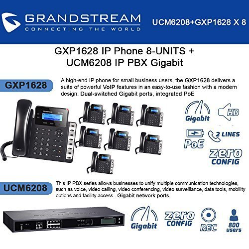 Ip Pbx System - Grandstream GXP1628 IP Phone 8-UNITS + UCM6208 8 Port IP PBX Gigabit