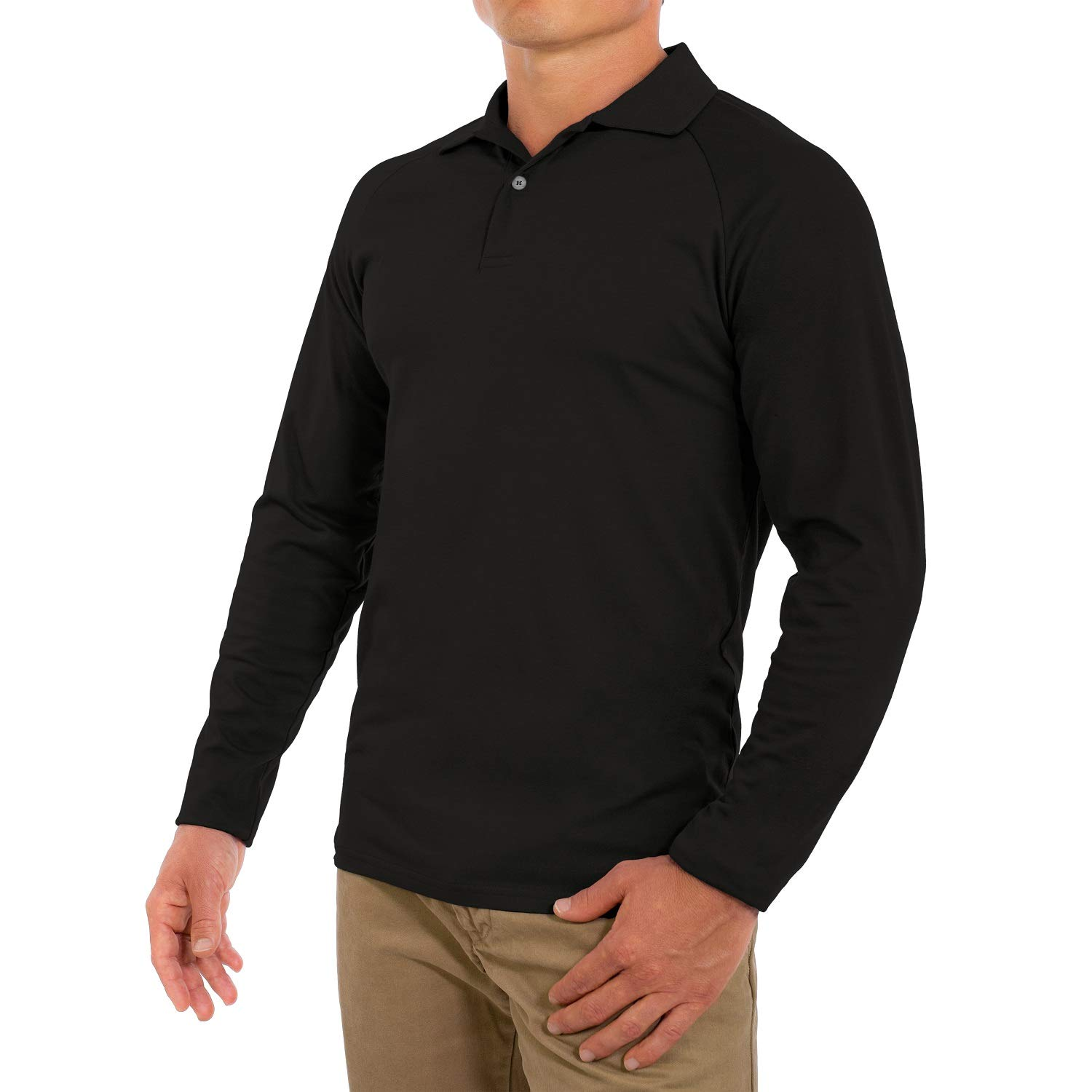 caa902803ce Amazon.com  Comfortably Collared Men s Perfect Slim Fit Long Sleeve Soft  Fitted Polo Shirt  Clothing