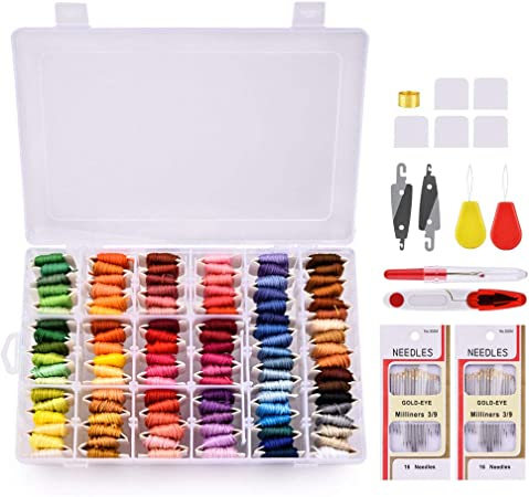 Hilo de bordado, MS.DEAR Kit de inicio de bordado con Organizador Caja de almacenamiento, 108