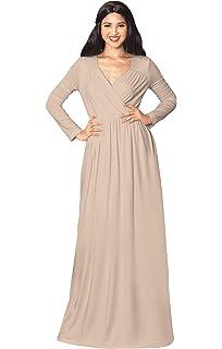 53582bcdd9 KOH KOH Womens Long Sleeve Empire Cocktail Elegant Evening Versatile Maxi  Dress
