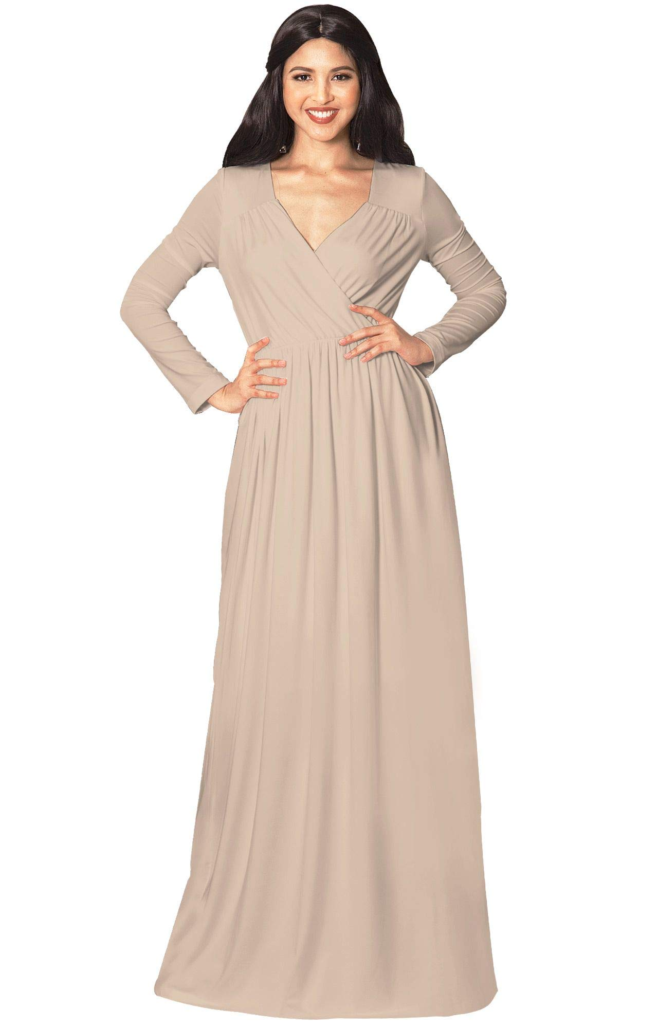 f206354c31 KOH KOH Plus Size Womens Long Sleeve Sleeves Empire Waist Floor-Length  Cocktail Elegant Evening Fall Modest Winter Formal Abaya Cute Gown Gowns  Maxi Dress ...