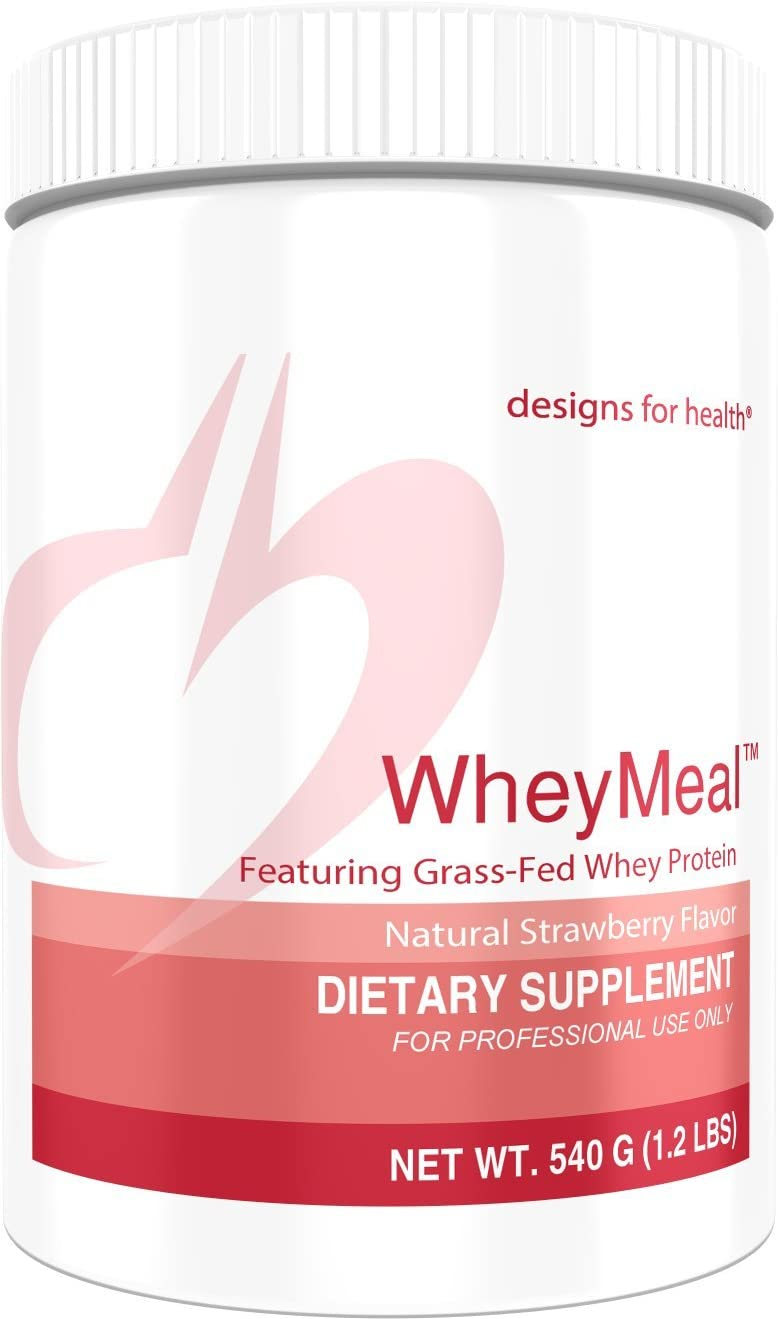 Designs for Health WheyMeal – Strawberry Grass Fed Whey Protein Powder with 16g Protein 15 Servings 540g