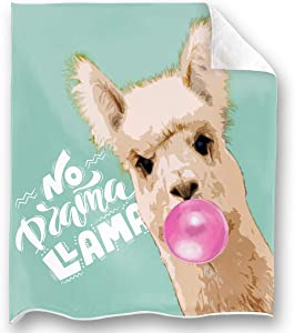 Loong Design No Drama Llama Throw Blanket Super Soft, Fluffy, Premium Sherpa Fleece Blanket 50'' x 60'' Fit for Sofa Chair Bed Office Travelling Camping Gift