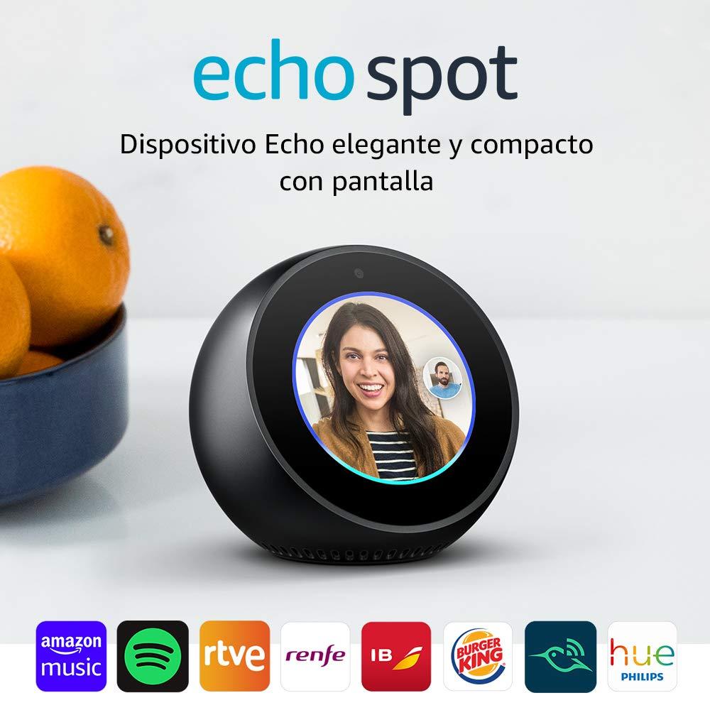 Amazon Echo Spot - Altavoz inteligente con pantalla que se conecta a Alexa, negro