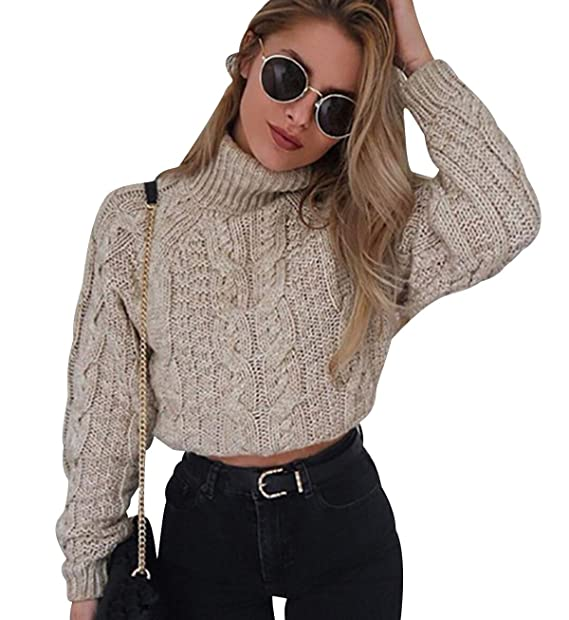 42febbd75c5bb ... Jerseys de Punto Grueso de Señora Oversize Jerséis Manga Larga Jerseis  Chica Sweaters De Mujer Suéter Pullover Tejido Otoño Invierno  Amazon.es   Ropa y ...