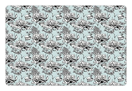 Ambesonne Shabby Chic Pet Mat for Food and Water, Vintage Monochrome Pond Water Flowers Lily Carp Snail Twigs Artwork, Rectangle Non-Slip Rubber Mat for Dogs and Cats, Baby Blue Black (Monochrome Twigs)