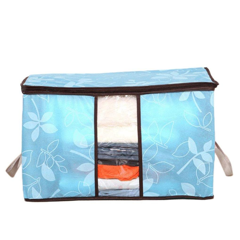 Perspective foldable storage bag organizer, large hand bag, ideal for clothes, blankets, wardrobes, quilts, toilets, etc. (Sky Blue) BB67