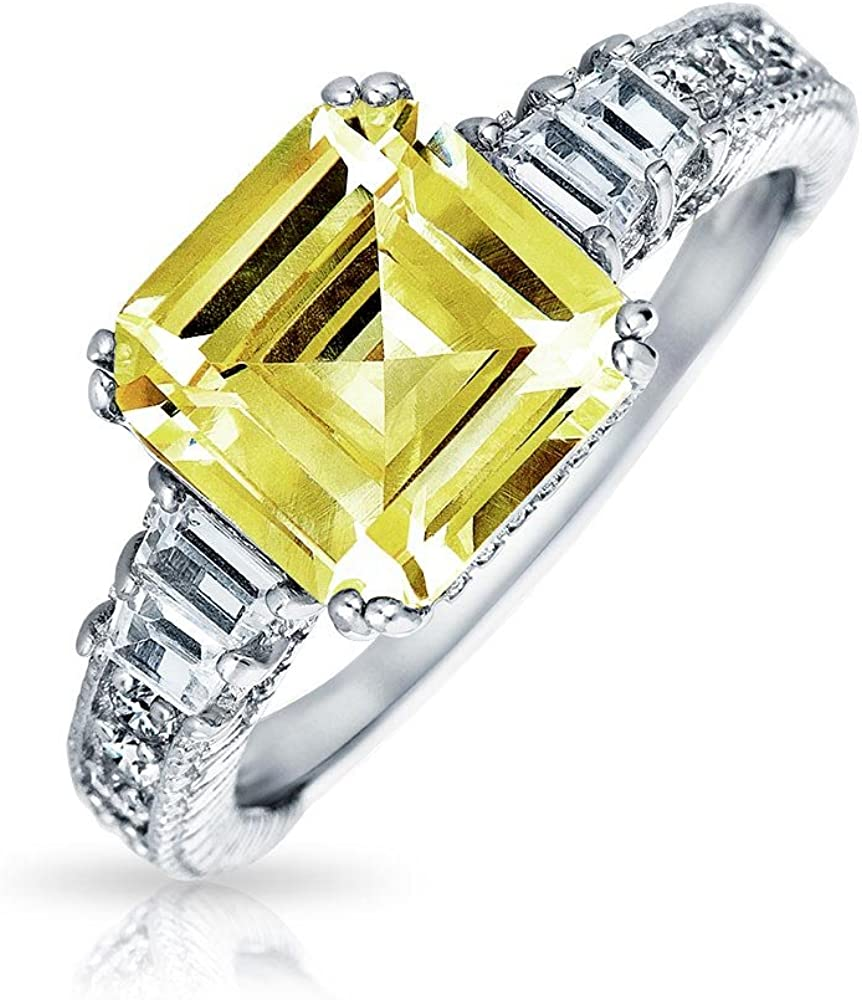 Art Deco Style 2CT Canary Yellow AAA CZ Square Asscher Cut Engagement Ring For Women Baguettes Band 925 Sterling Silver