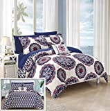 Chic Home 8 Piece Barcelona Super Soft microfiberREVERSIBLE King Bed In a Bag Comforter Set Navy With sheet set