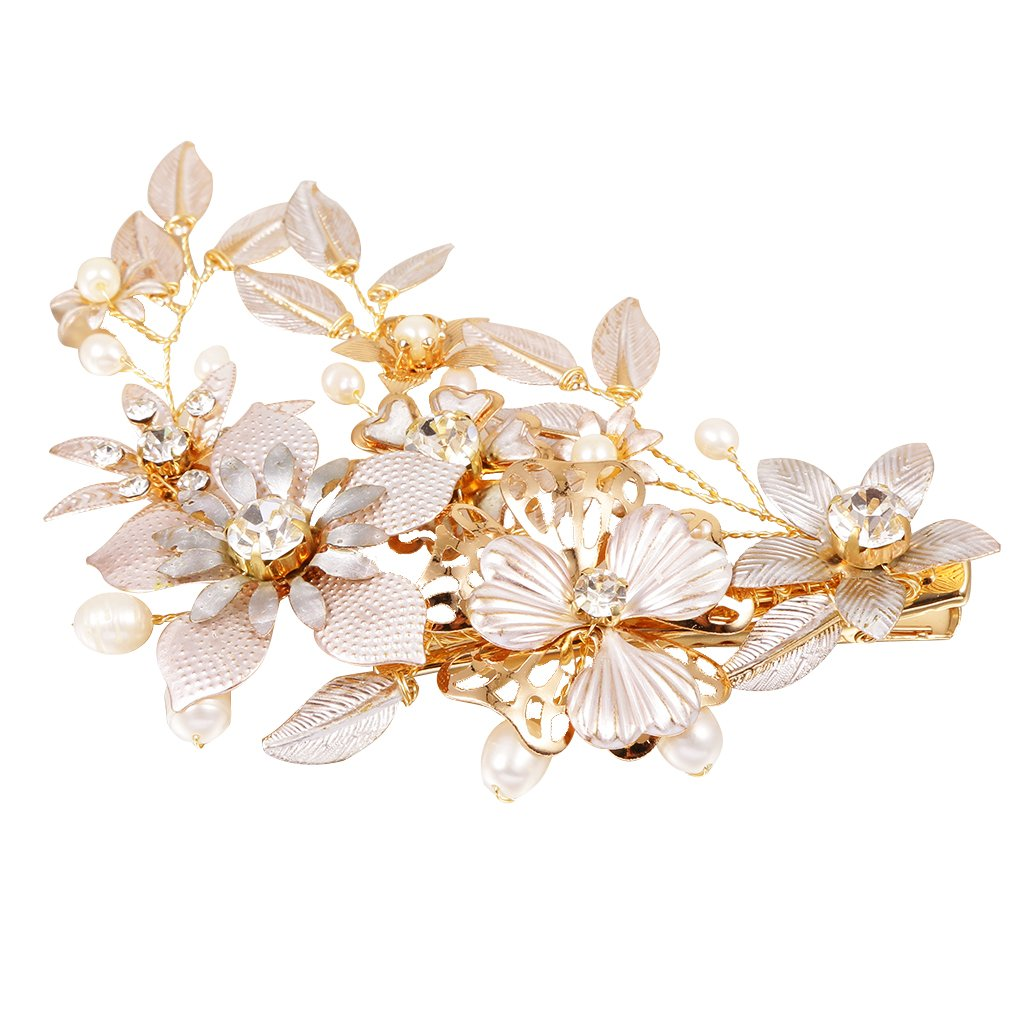 MagiDeal Crystal Pearls Floral Vine Hair Clip Wedding Bride Girl Prom Accessory-Gold