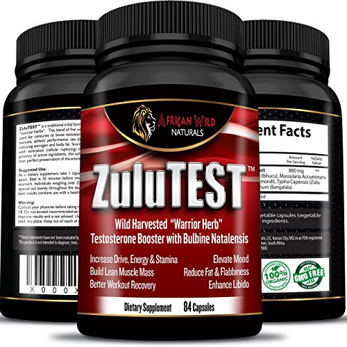 ZuluTEST Warrior Herbal, Best 100% All Natural Men's Testosterone Booster Supplement, Enhance Libido & Mood, Renew Youthful Energy & Strength, Accelerate Muscle Growth & Burn Fat! (6 to 9 Week Supply) (Raw Freeze Dried Turmeric compare prices)