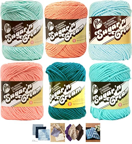 - Variety Assortment Lily Sugar'n Cream Yarn 100 Percent Cotton Solids (6-Pack) Medium Number 4 Worsted Bundle with 4 Patterns (Asst 49)